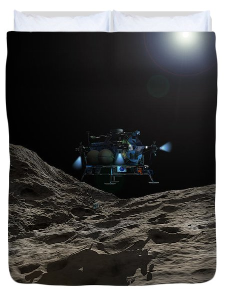 A Manned Asteroid Lander Approaches Duvet Cover by Walter Myers