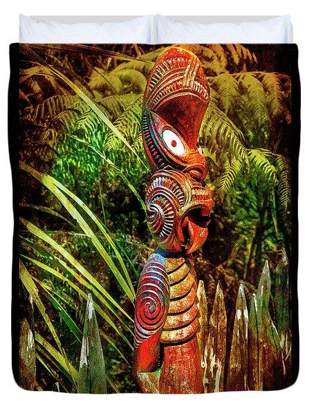A Maori God In New Zealand Duvet Cover