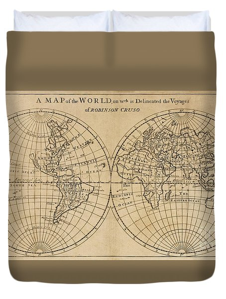 A Map Of The World On Which Is Delineated The Voyage Of Robinson Crusoe Duvet Cover