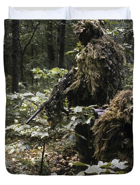 A Marine Sniper Team Wearing Camouflage Duvet Cover by Stocktrek Images
