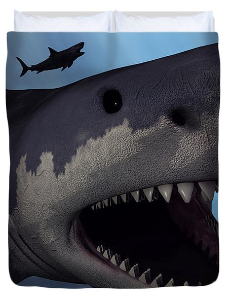 A Megalodon Shark From The Cenozoic Era Duvet Cover by Mark Stevenson