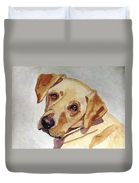 Duvet Cover featuring the painting A Mellow Yellow by Angela Davies