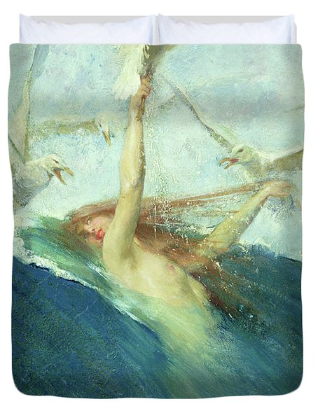 A Mermaid Being Mobbed By Seagulls Duvet Cover