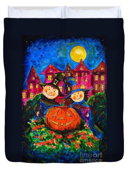 A Merry Halloween Duvet Cover by Zaira Dzhaubaeva