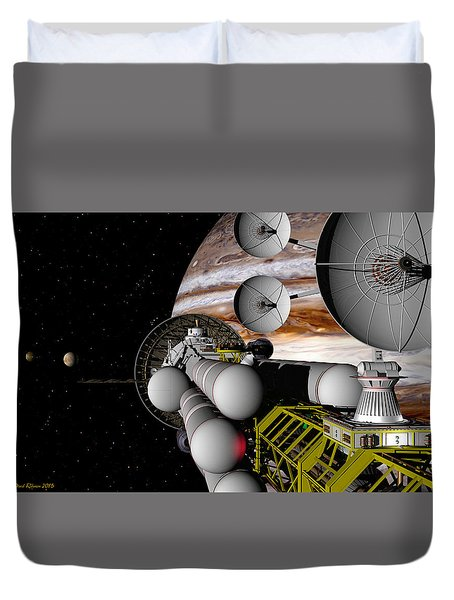 Duvet Cover featuring the digital art A Message Back Home by David Robinson