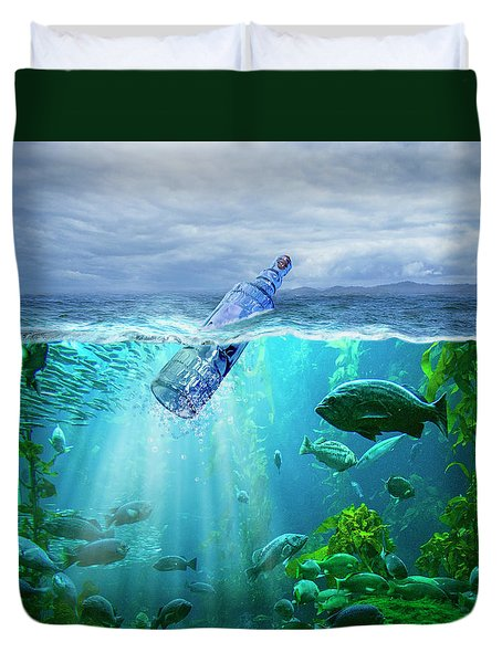 A Message In A Bottle Duvet Cover