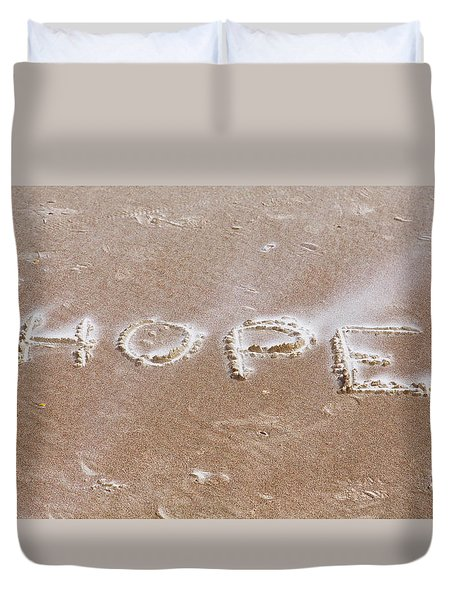 Duvet Cover featuring the photograph A Message On The Beach by John M Bailey