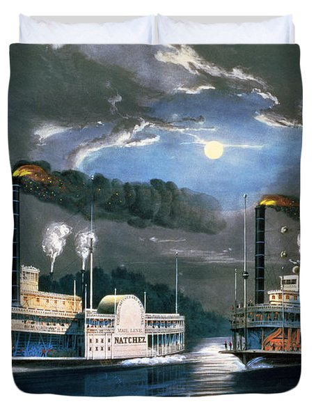 A Midnight Race On The Mississippi Duvet Cover by Currier and Ives