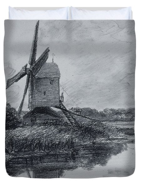 A Mill On The Banks Of The River Stour Charcoal On Paper Duvet Cover