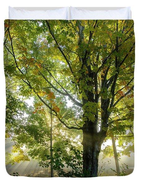 A Misty Fall Morning Duvet Cover