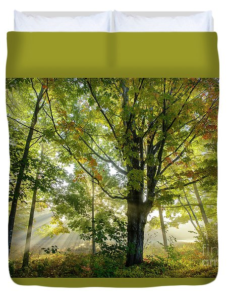 A Misty Fall Morning Duvet Cover