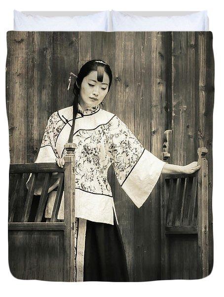 A Model In A Period Costume. Duvet Cover