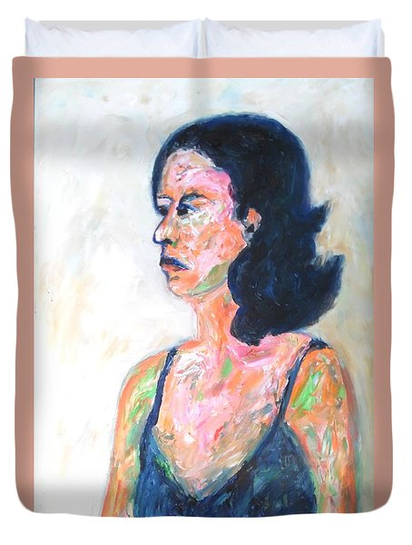 Duvet Cover featuring the painting A Modern Madame Bovary by Esther Newman-Cohen