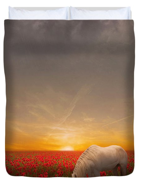 A Moment In The Poppy Field Duvet Cover