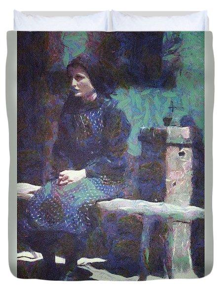 Duvet Cover featuring the digital art A Moment Of Meditation by Gun Legler