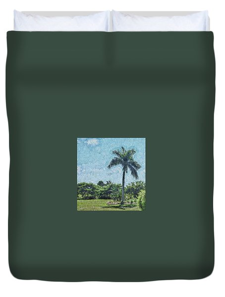 A Monet Palm Duvet Cover
