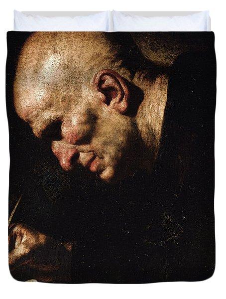 A Monk Scribe  Duvet Cover