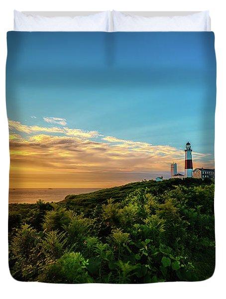 A Montauk Lighthouse Sunrise Duvet Cover