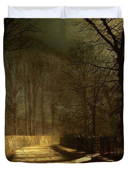 A Moonlit Lane Duvet Cover