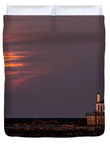 A Moonsetting Sunrise Duvet Cover