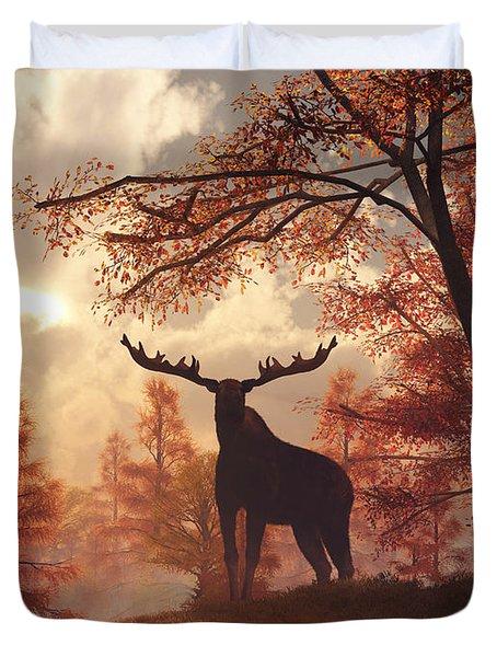 A Moose In Fall Duvet Cover by Daniel Eskridge