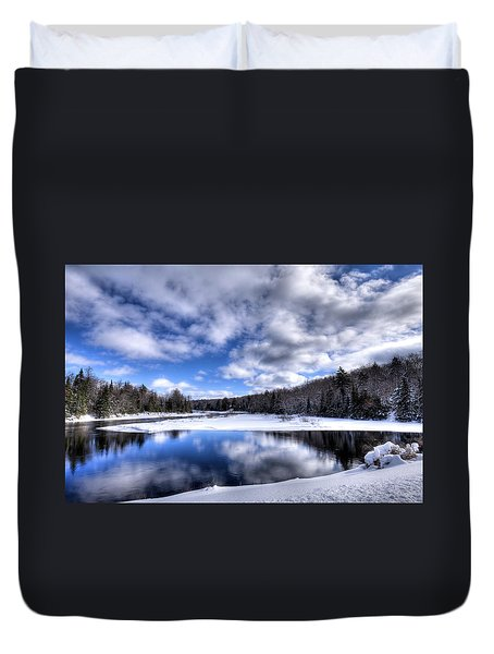 Duvet Cover featuring the photograph A Moose River Snowscape by David Patterson