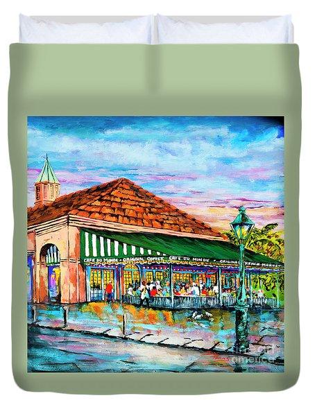 A Morning At Cafe Du Monde Duvet Cover