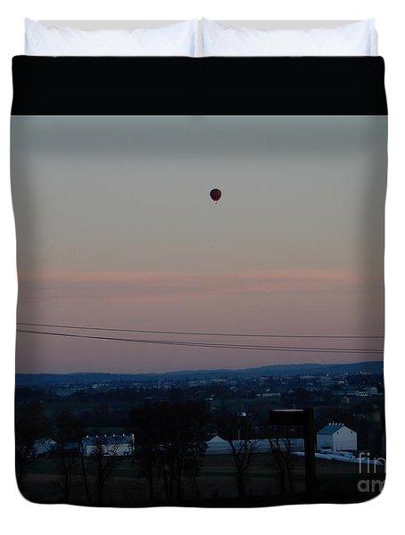 A Morning Hot Air Balloon Ride Duvet Cover