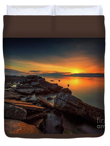 A Morning On The Rocks Duvet Cover