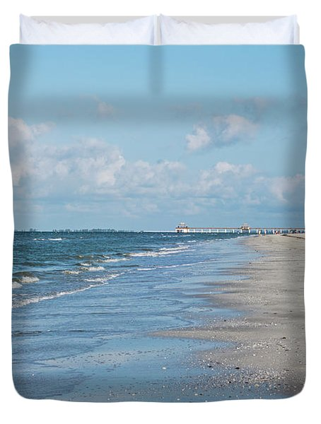A Morning Walk On Fort Myers Beach Fort Myers Florida Duvet Cover