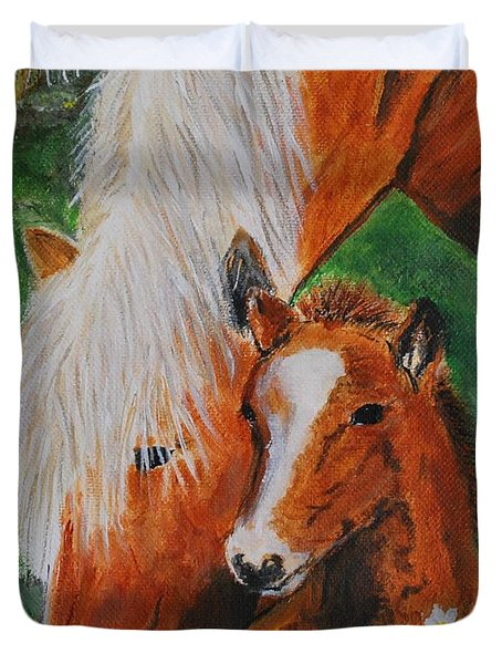 Duvet Cover featuring the painting A Mothers Love by Leslie Allen