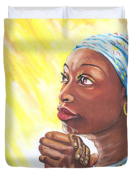 A Mothers Prayer Duvet Cover by Emmanuel Baliyanga