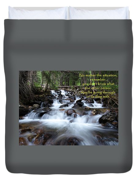 A Mountain Stream Situation Duvet Cover by DeeLon Merritt