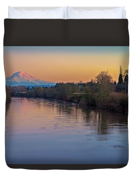 A Mt Tahoma Sunset Duvet Cover