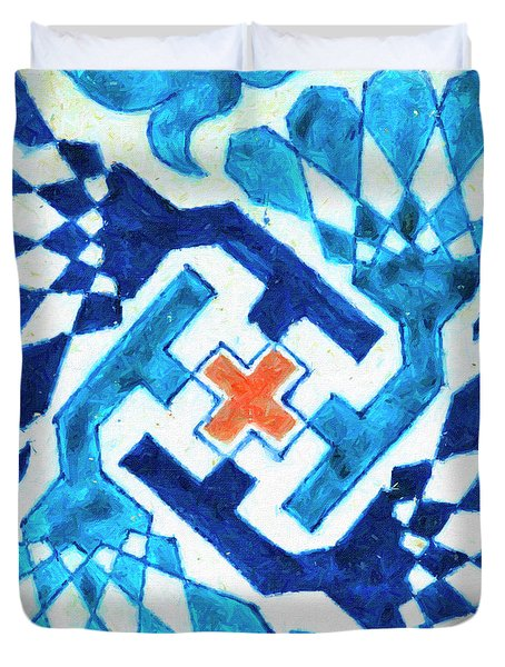 A Multan Pottery Tile, Pakistan, Late 15th Century, By Adam Asar, No 19x Duvet Cover