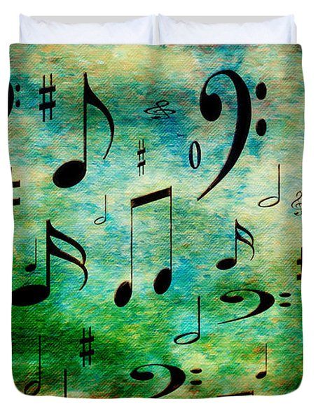 Duvet Cover featuring the digital art A Musical Storm 2 by Andee Design