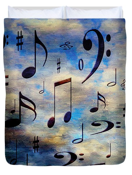 Duvet Cover featuring the digital art A Musical Storm 3 by Andee Design