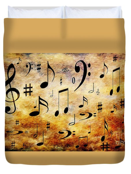 Duvet Cover featuring the digital art A Musical Storm by Andee Design