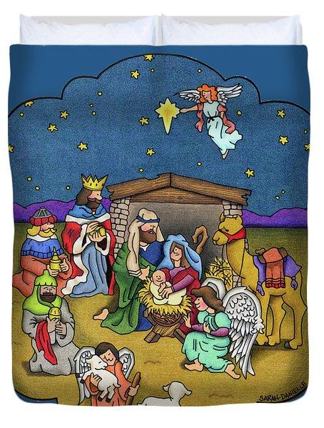 A Nativity Scene Duvet Cover by Sarah Batalka