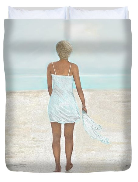 Duvet Cover featuring the painting A Natural Beauty by Leslie Allen