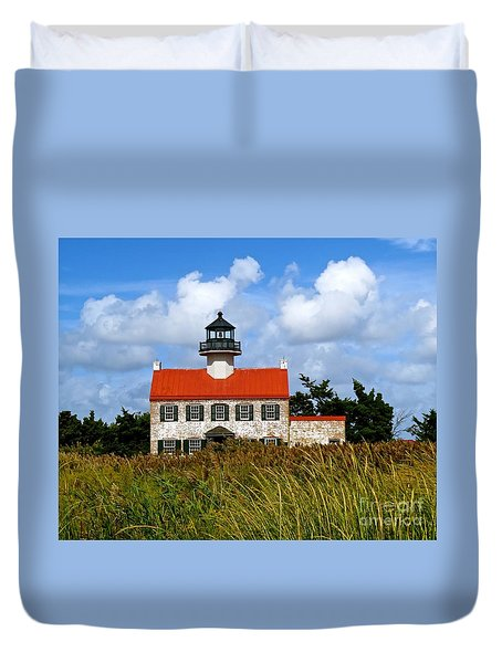 A New Day At East Point Light Duvet Cover by Nancy Patterson