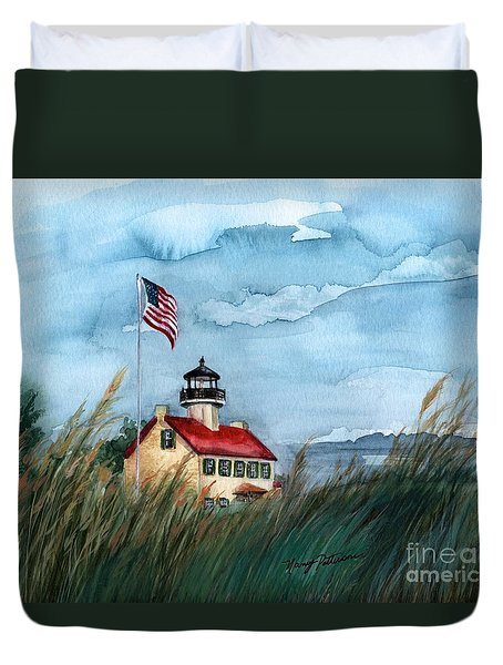 A New Day At East Point Lighthouse Duvet Cover by Nancy Patterson
