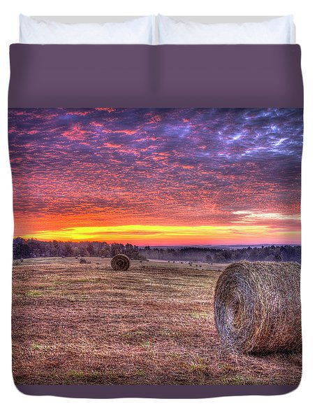 Duvet Cover featuring the photograph Before A New Day Georgia Hayfield Sunrise Art by Reid Callaway