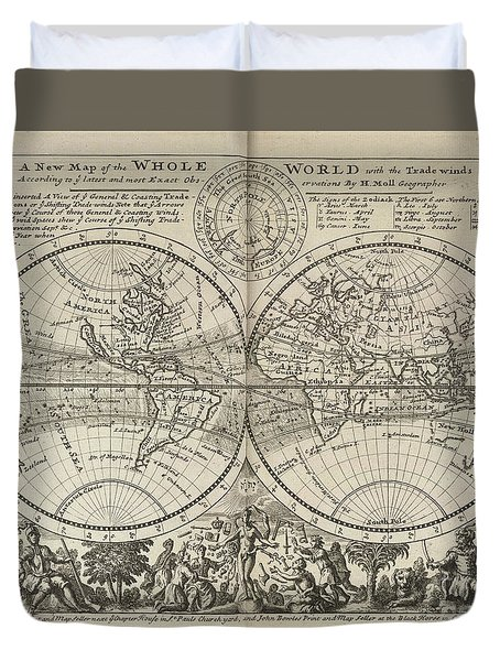 A New Map Of The Whole World With Trade Winds Herman Moll 1732 Duvet Cover