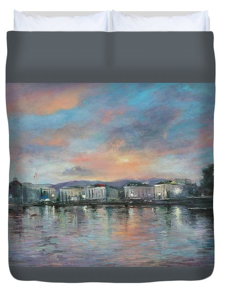 A Night At Geneva Duvet Cover
