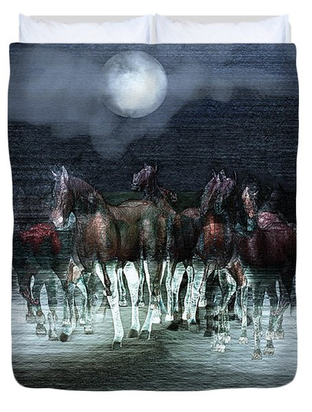 A Night Of Wild Horses Duvet Cover