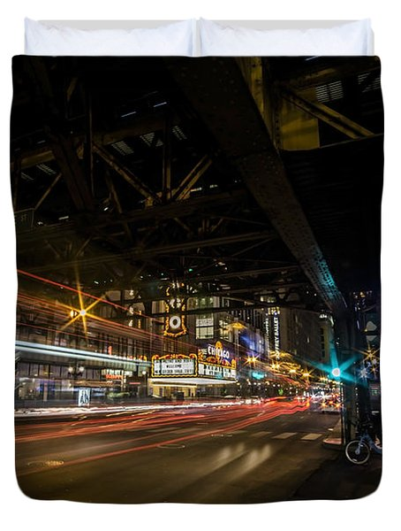 a nighttime look at Chicago's busy State and Lake Intersection Duvet Cover