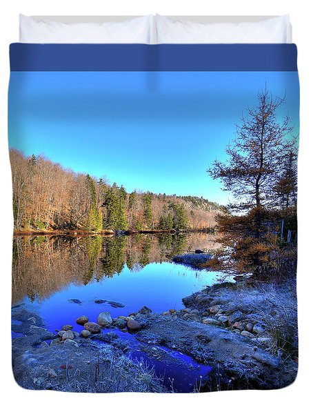 Duvet Cover featuring the photograph A November Morning On The Pond by David Patterson
