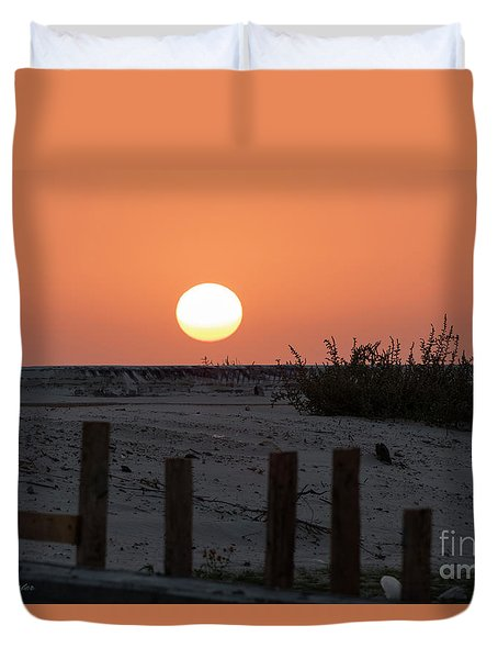 A November Sunset Scene Duvet Cover