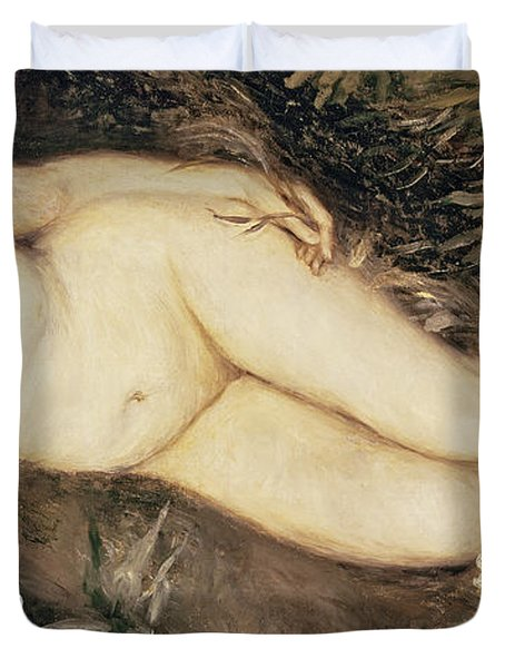 A Nymph By A Stream Duvet Cover by Pierre Auguste Renoir
